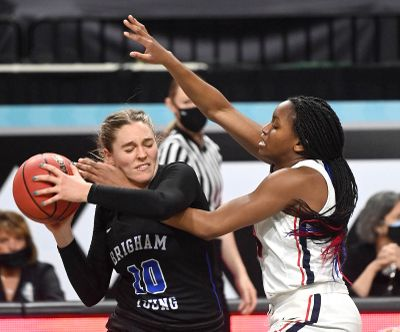 Gonzaga forward Yvonne Ejim, an all-tournament selection, defends BYU guard Tegan Graham during the second half of Tuesday's West Coast Conference Tournament title game in Las Vegas.  (COLIN MULVANY/THE SPOKESMAN-REVIEW)