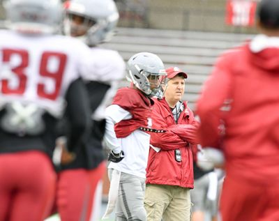 Washington State Cougars head coach Mike Leach watches his team during a spring practice on  April 5, 2018, at Martin Stadium in Pullman. (Tyler Tjomsland / The Spokesman-Review)