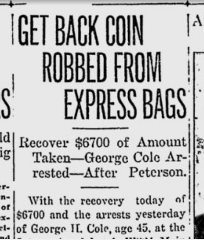 Police recovered some of the stolen $10,000 from the Great Northern Express Depot after two suspects implicated a railway employee as the ringleader in the crime. (S-R archives)