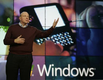 Microsoft Corp. CEO Steve Ballmer delivers the keynote address Wednesday at the International Consumer Electronics Show in Las Vegas.  (Associated Press / The Spokesman-Review)