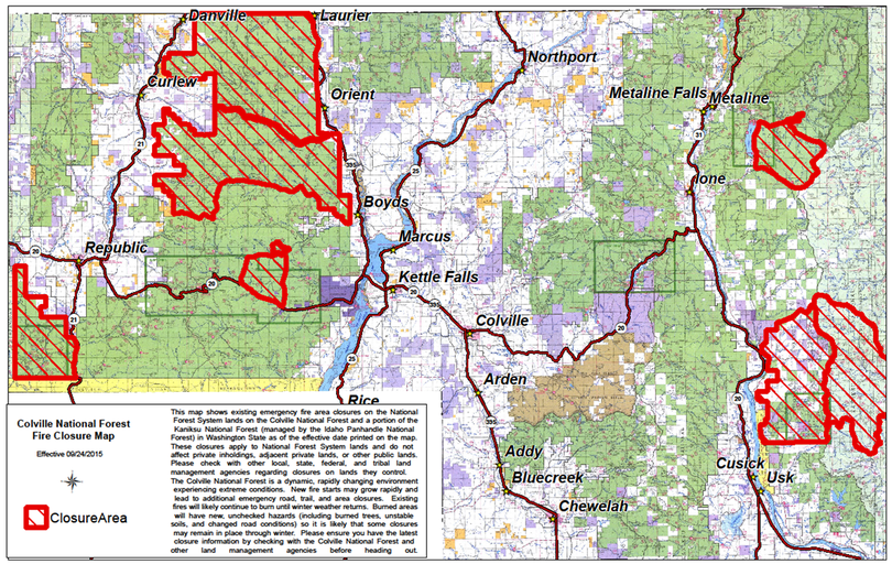 Wildfire closures on the Colville National forest updated on Sept. 24, 2015. (U.S. Forest Service)