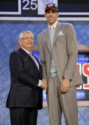 NBA commissioner David Stern welcomes Austin Daye as No. 15 pick in the first round. (Associated Press / The Spokesman-Review)