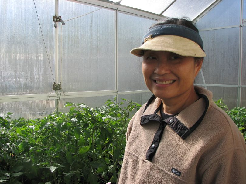 Virginia Kanikeberg is standing in her backyard green house surrounded by tomato plants. She's a member of The Inland Empire Gardeners Club and giving away surplus plants for free to community gardens.