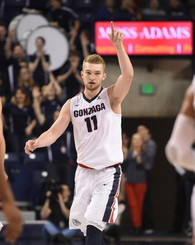 Gonzaga sophomore Domantas Sabonis doesn't hide his emotions on the basketball court. (Colin Mulvany / The Spokesman-Review)