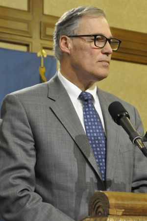 OLYMPIA -- Gov. Jay Inslee, at a March 7, 2016 press conference, says lawmakers shouldn't need a special session and says he will veto bills if they don't reach a budget by March 10. (Jim Camden/The Spokesman-Review)
