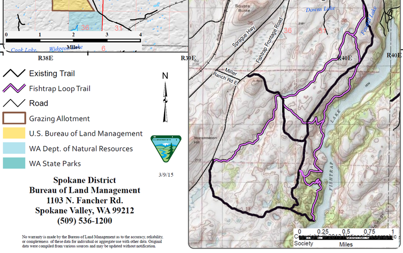 New trail segments will link with existing trails to make a non-motorized 8-mile loop route on BLM land at Fishtrap Lake. (U.S. Bureau of Land Management)