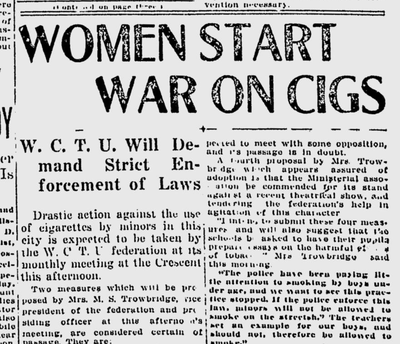 "The local Woman's Christian Temperance Union chapter was planning to confront the Spokane police chief and demand that the law against minors smoking cigarettes be ""rigidly enforced."" (Spokane Daily Chronicle archives)"
