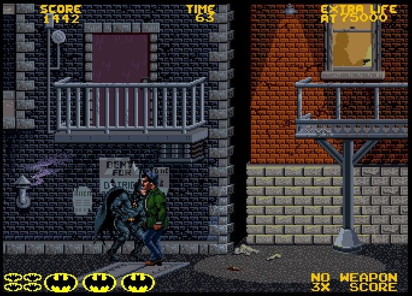 Batman's arcade adventure in 1990 by Atari used the likenesses and voices of film series stars Michael Keaton and Jack Nicholson, as well as Danny Elfman's score.