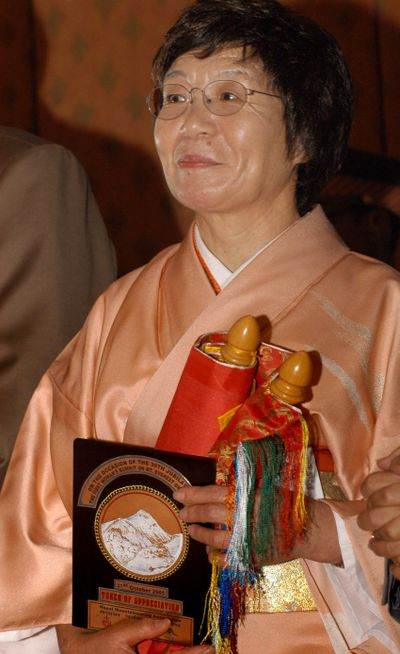 FILE - In this Oct. 31, 2005 file photo, Japanese mountaineer Junko Tabei looks on during a felicitation ceremony in Katmandu, Nepal.  Tabei died Thursday, Oct. 20, 2016,  of cancer at a hospital outside of Tokyo, according to Japanese media reports. She was 77.  Tabei reached the summit of the world's highest mountain in 1975. In 1992, she also became the first woman to complete the