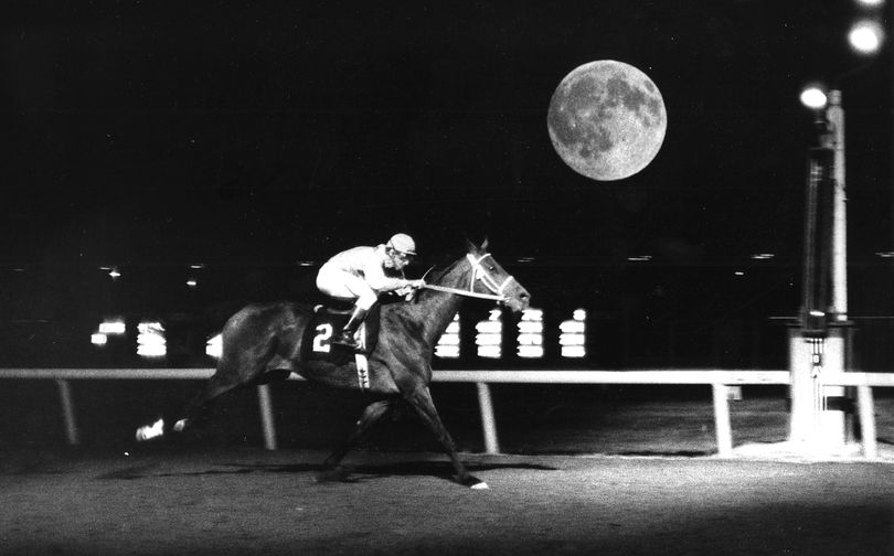 Dale Wright rides Byalash under the moon in 1980.   (Photo Archive / The Spokesman-Review)