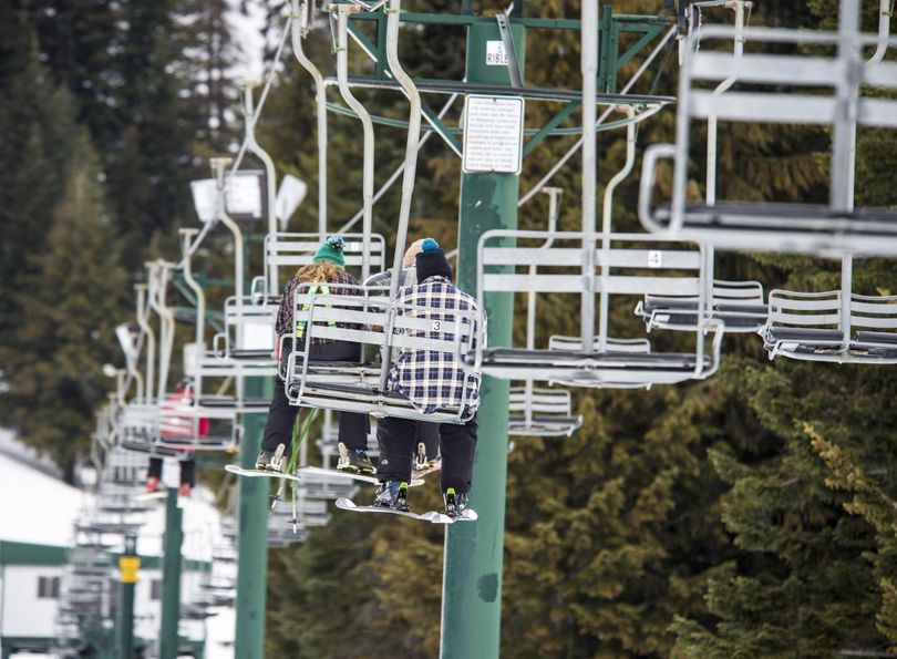 Ski instructors ride the chairlift before give lessons, Feb. 10, 2017, at Mt. Spokane Ski and Snowboard Park. (Dan Pelle / The Spokesman-Review)