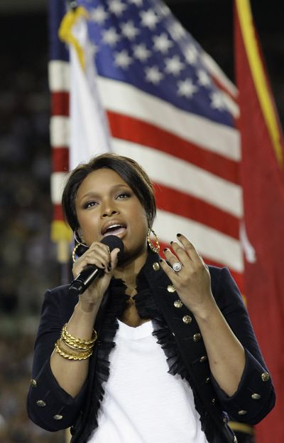 Jennifer Hudson sings the national anthem before the the NFL Super Bowl XLIII football game between the Arizona Cardinals and the Pittsburgh Steelers today in Tampa, Fla.  (David J. Phillips / The Associated Press)
