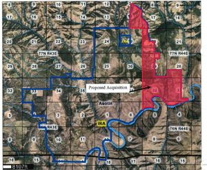Map shows Mountain View Project land along the Grande Ronde River the Washington Fish and Wildlife Department is planning to buy in phases from Milton (Mike) Odom II and the 4-0 Livestock and Land Company LLC.  (Washington Fish and Wildlife Department)