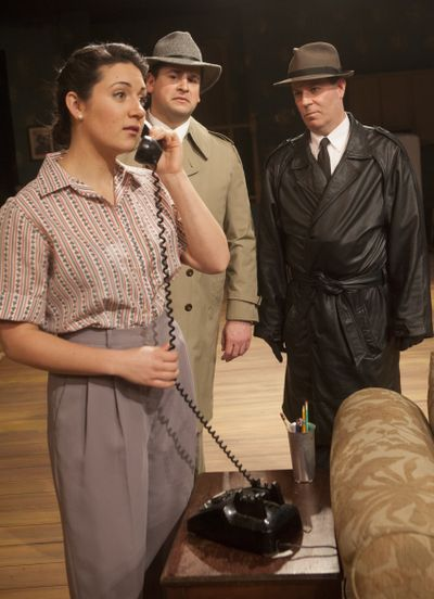 """Jessi Little, foreground, stars in Interplayers' production of """"Wait Until Dark"""" along with Jonah Weston, back left, and Gerald B. Browning, back right. (Tyler Tjomsland)"""
