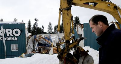 Vince Hughes of KYRO Ice Arena stands front of the building Wednesday. He talked about the damage from the recent roof collapse that has closed the venue.  (Kathy Plonka / The Spokesman-Review)