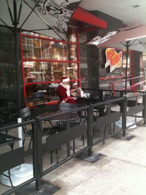 Santa takes a break at the downtown Starbucks on Dec. 3, 2010 (Pia Hallenberg)
