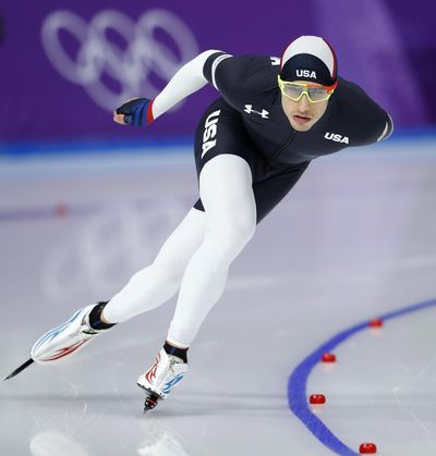 Emery Lehman of the U.S. competes during the men's 5,000 meters race at the Gangneung Oval at the 2018 Winter Olympics in Gangneung, South Korea, Sunday, Feb. 11, 2018. (Petr David Josek / Associated Press)