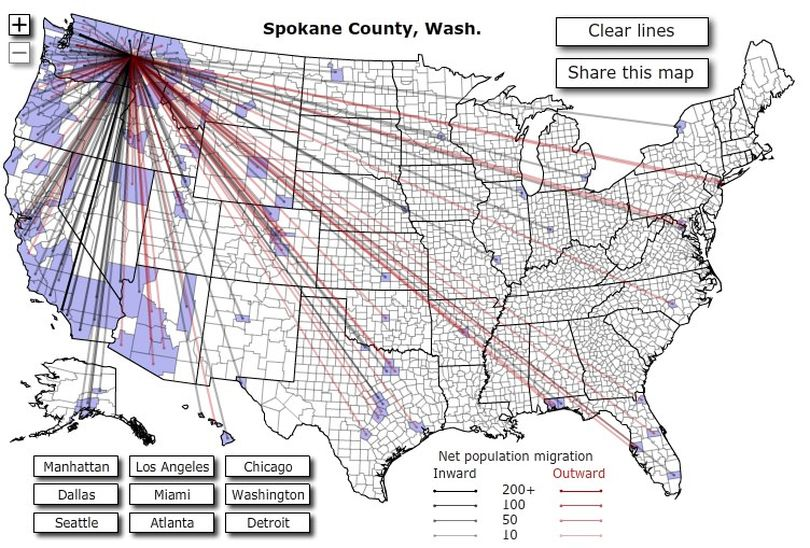 People moving to and away from Spokane County, Wash. (Forbes.com)