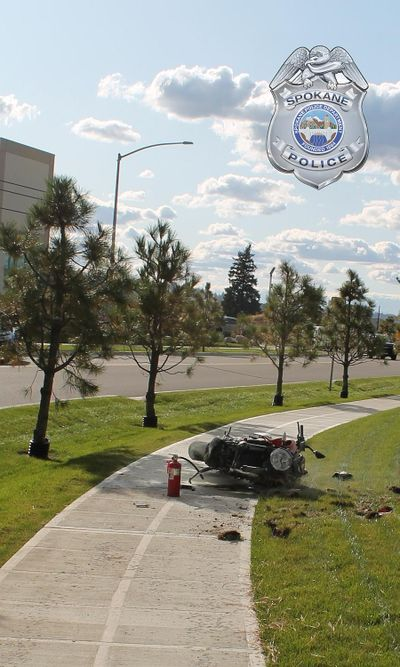 A man in his mid-30s died in east Spokane Tuesday afternoon after crashing into a light pole on a motorcycle near Playfair Commerce Park, according to Spokane police. (Courtesy of Spokane Police Department)