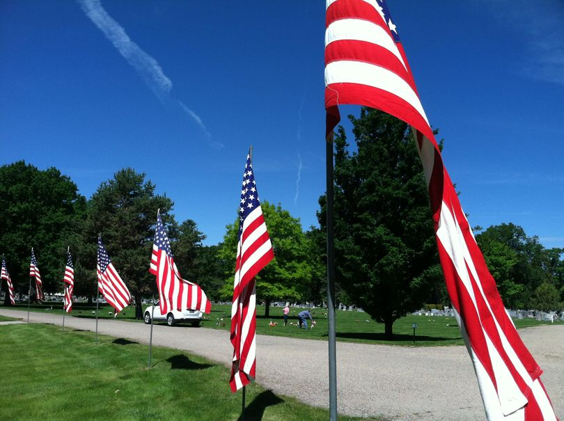 Flags fly for Memorial Day at Boise's Morris Hill Cemetery (Betsy Russell)