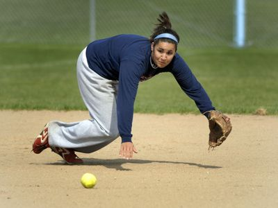 Central Valley shortstop Alexa Morales goes hard for a ground ball during practice Monday. The three-time all-GSL player has signed to play softball at Portland State University.  (J. BART RAYNIAK / The Spokesman-Review)