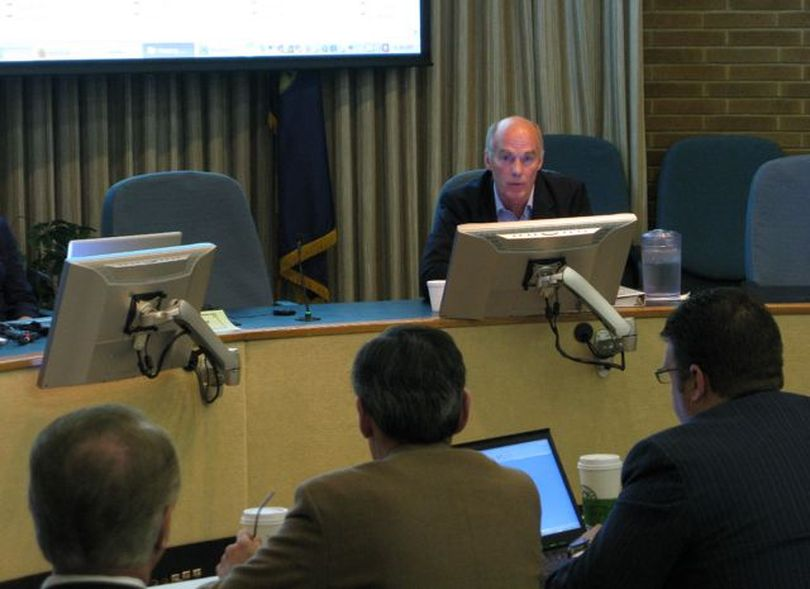 Ken Johnson, Kearl module transportation project manager for Imperial Oil, a Canadian affiliate of ExxonMobil, testifies Friday at a contested-case hearing on Boise on the company's proposed megaloads on U.S. Highway 12. (Betsy Russell)