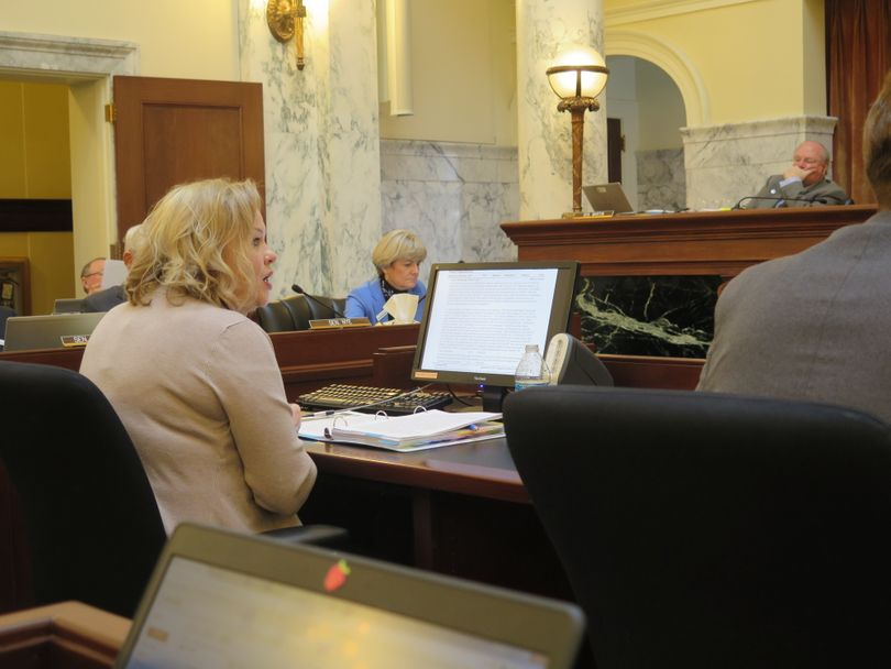 Sara Thomas, administrative director of Idaho's courts, makes her budget pitch on Tuesday morning, Jan. 16, 2018 to the Idaho Legislature's Joint Finance-Appropriations Committee. (Betsy Z. Russell)