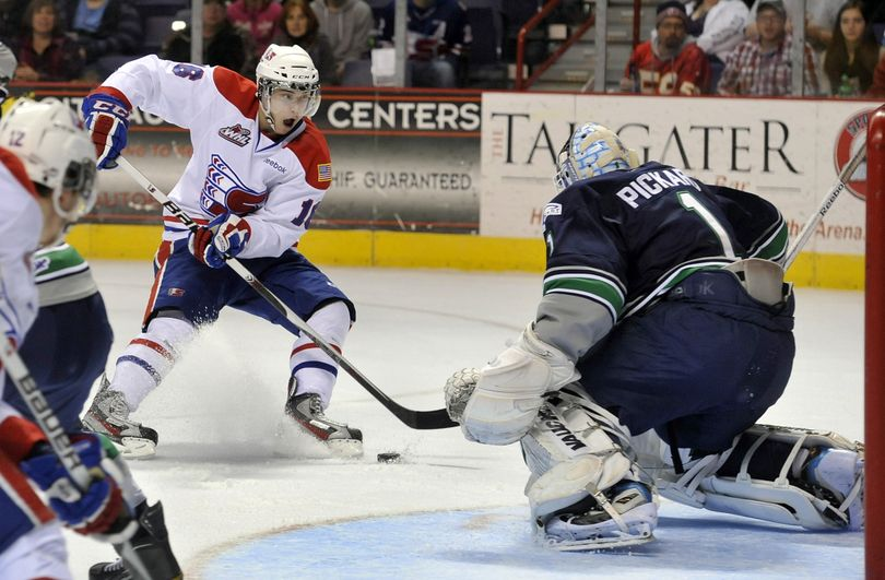 Mike Aviani scored earlier for Spokane, but missed this golden opportunity – as the Chiefs did often – against Seatte goalie Calvin Pickard. (Dan Pelle)