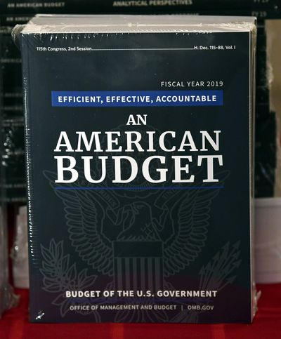 The president's FY19 Budget is on display after arriving on Capitol Hill in Washington, Monday, Feb. 12, 2018. (Susan Walsh / Associated Press)
