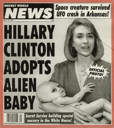 From Mother Jones In June 1993, the Clintons adopted the infant survivor of a UFO crash, whom they named John Stanley Clinton. An observer told the WWN,