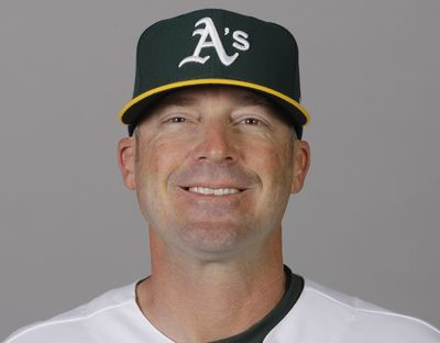 In this Feb. 20, 2020 photo, Ryan Christenson, of the Oakland Athletics baseball team, poses for a photo in Mesa, Ariz. Major League Baseball has been in touch with the Athletics about bench coach Christenson making a gesture that appeared to be a Nazi salute following a win over the Texas Rangers. There has been no discipline announced against Christenson. He has apologized for raising his arm during a postgame celebration Thursday, Aug. 6, 2020. The team is giving him the benefit of the doubt that he intended no harm.  (Associated Press)