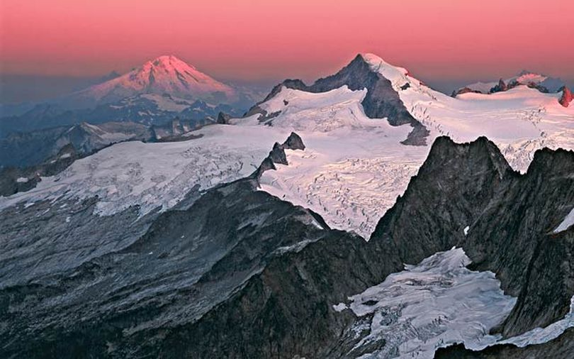 Spectacular snowy vistas command the horizon in this shot of Eldorado Peak at sunrise in Washington's North Cascades National Park.