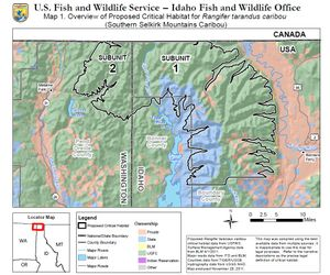 Map of area proposed by the U.S. Fish and Wildlife Service for protection as critical habitat for Selkirk Mountains woodland caribou. (U.S. Fish and Wildlife Service)