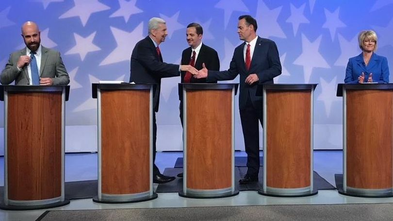 Republican candidates for Congress in Idaho's 1st District react after their debate ended at the Idaho Public Television studio on April 27, 2018; from left are Luke Malek, David Leroy, Michael Snyder, Russ Fulcher, and Christy Perry. (Betsy Z. Russell / The Spokesman-Review)