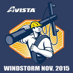 Avista created this logo for the November 2015 windstorm and printed stickers for linemen and other workers to commemorate their work to restore power.