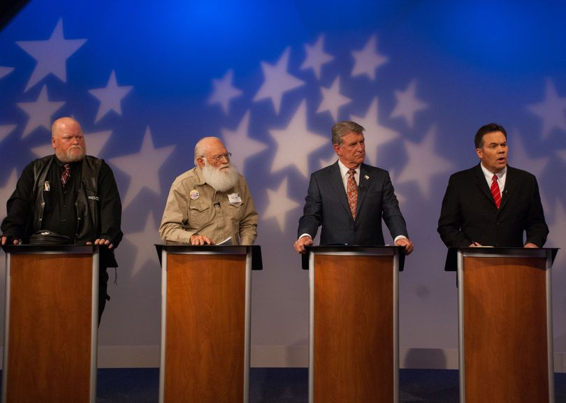From left, Harley Brown, Walter Bayes, Gov. Butch Otter and Sen. Russ Fulcher debate on live TV on Wednesday night (Idaho Public TV)