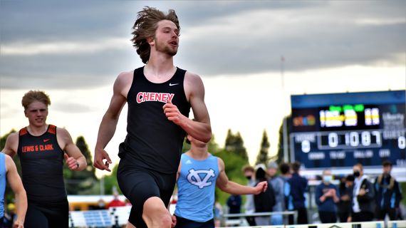 Cheney's Ryan Rieckmann competes at the Greater Spokane League 2A track and field championships at Central Valley High School on Saturday, May 15, 2021.  (Keenan Gray/For The Spokesman-Review)