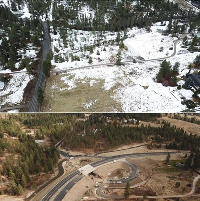 Bigelow Gulch and Forker roads after completion of the interchange project. (Courtesy photo by Cutaway Media)