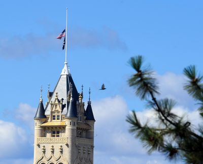 The Spokane County County House flies the American and P.O.W. flags at half staff on Monday, Aug. 27, 2018, in honor of the late Sen. John McCain.  Dan Pelle/THE SPOKESMAN-REVIEW (Dan Pelle / The Spokesman-Review)