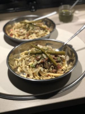 This smoked salmon pasta dinner involved digging deep into our pantry. (Leslie Kelly)
