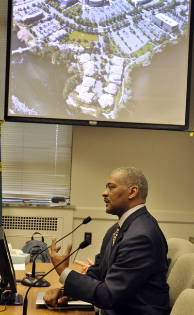 WSU President Elson Floyd describes the university's plans Thursday for its own medical school in Spokane to the Senate Health Care Committee. (Jim Camden)