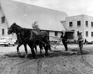 In this 1964 photo, Dr. Walter Bridge of Loma Vista Baptist Church rides leveling float as Winslow guides Charlie and Chub. (Photo Archive/ Spokesman Review)