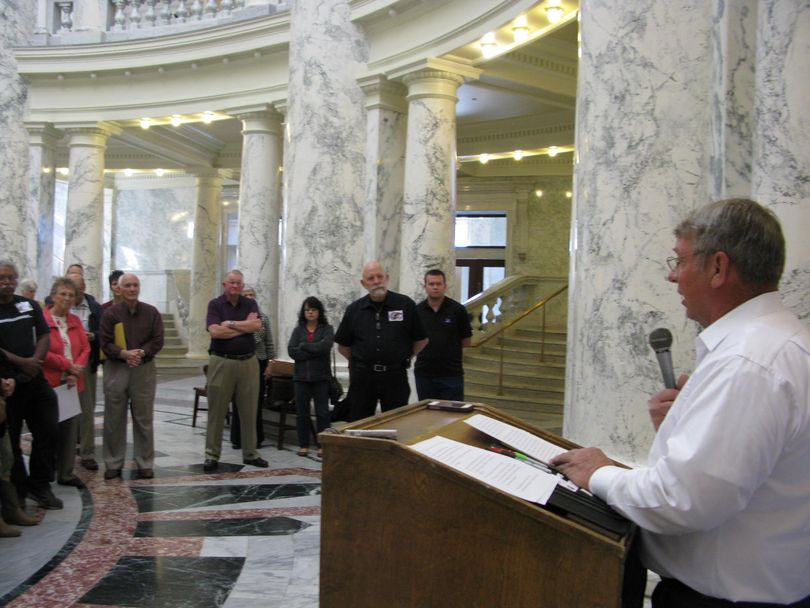 Lawerence Denney announces his candidacy for Idaho Secretary of State to supporters at the state Capitol on Thursday (Betsy Russell)