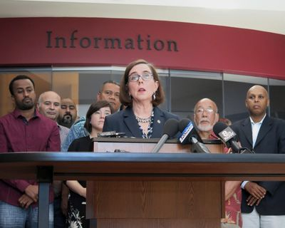 In this May 27, 2017,  photo, Oregon Gov. Kate Brown speaks at a news conference in Portland, Ore. (Gillian Flaccus / Associated Press)