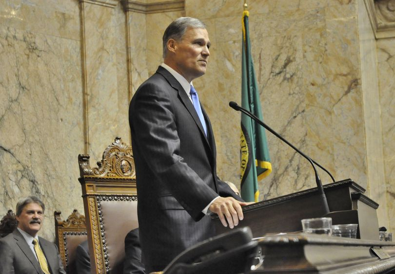 OLYMPIA -- Gov. Jay Inslee delivers  his Inaugural address to a joint session of the Legislature on Jan. 16, 2013  (Jim Camden)