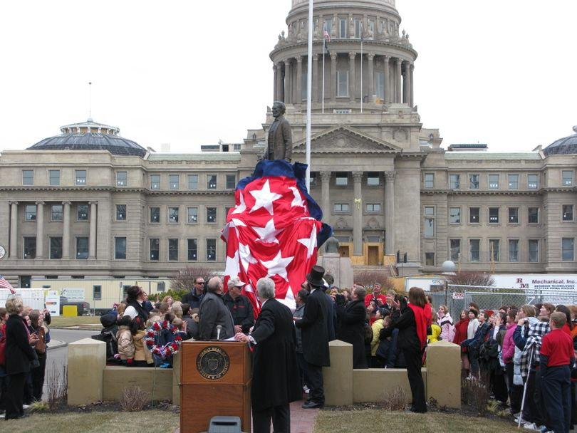Idaho's newly restored and relocated Lincoln monument is unveiled in downtown Boise, 2/12/09 (Betsy Russell / The Spokesman-Review)