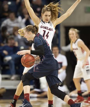 """Gonzaga forward Sonny Greinacher says being tall (6-foot-4) has it's advantages and disadvantages, but """"it's better than being too short.""""  (Dan Pelle)"""