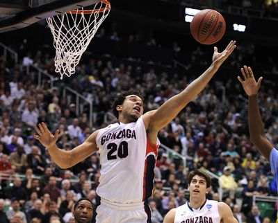 Gonzaga's Elias Harris (20) grabs a rebound against Southern in the opening round of the 2013 NCAA Tournament in Salt Lake City.  (Colin Mulvany / The Spokesman-Review)