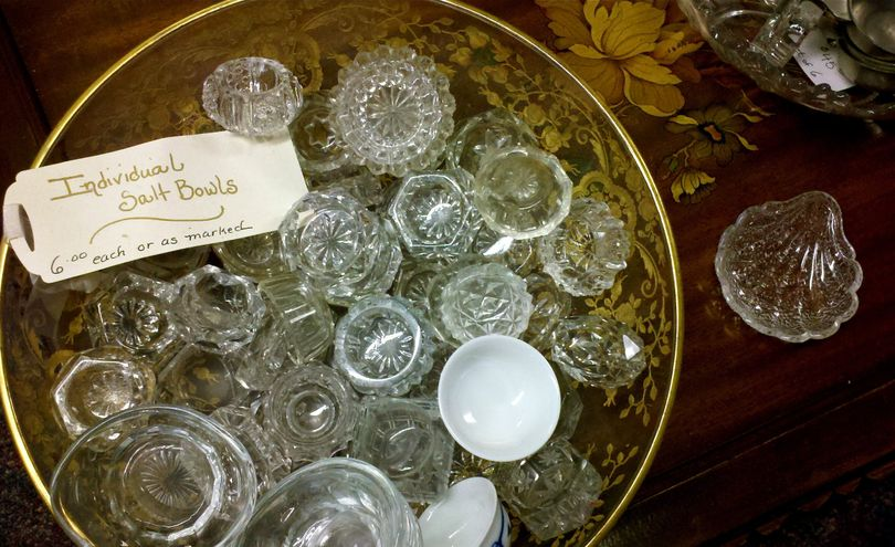Vintage crystal salt bowls for sale at Spokane's Antiquarian. (Cheryl-Anne Millsap / Photo by Cheryl-Anne Millsap)