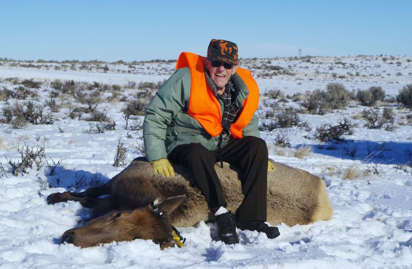 Gordon Blossom of Thorp, Washington, poses with elk he hunted at the age of 100. (R.G. Blossom / Courtesy)